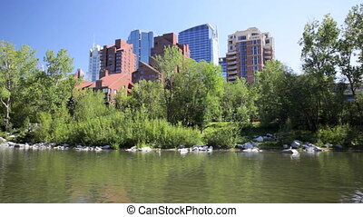 Highrises in Calgary, Alberta, view from Prince Island Park