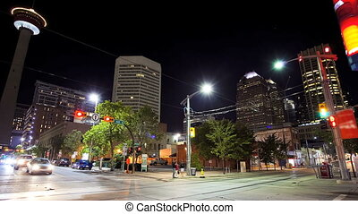 Downtown Calgary, Time Lapse - Street scene, downtown...