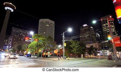 Street scene, downtown Calgary, Canada, time lapse