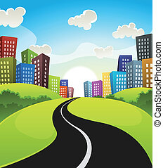 Downtown Cartoon Landscape - Illustration of a cartoon road...
