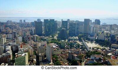 Downtown Center, Rio De Janeiro Brazil - Aerial Footage of...