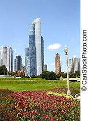 Downtown Chicago with Flowers
