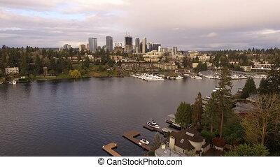 Downtown City Skyline Bellevue WA Lake Washington Shoreline...