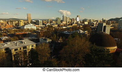 Downtown City Skyline Portland Oregon West Side Aerial