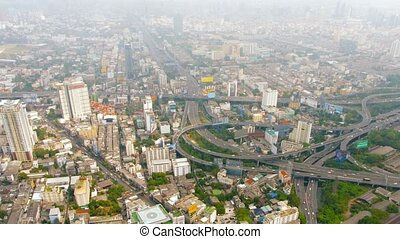 Downtown Cityscape in Bangkok, Thailand, with a Major Highway Junction