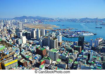 Busan, South Korea - Downtown cityscape of Busan, South ...