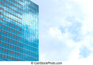 Downtown corporate business district architecture. Glass reflective office tall buildings against blue sky and sun light. Economy, finances, business activity concept.  window reflection dayligh as blue