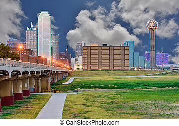 Downtown Dallas, Texas skyline at the blue hour