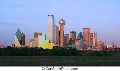 Downtown Dallas, Texas at dusk.