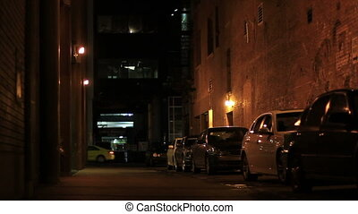 downtown dark alley - A typical alley in downtown Calgary....