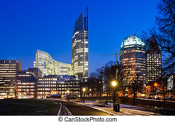 Den Haag - Downtown Den Haag, the Netherlands, as sunset on...