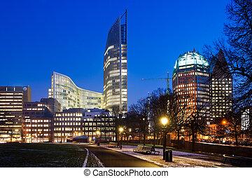 Downtown Den Haag, the Netherlands, as sunset on a winter evening