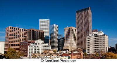 Downtown Denver Skyline With Clear Blue Sky
