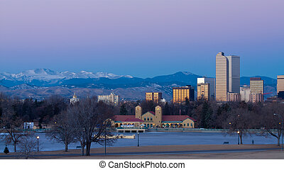 Downtown Denver Winter Skyline From City Park