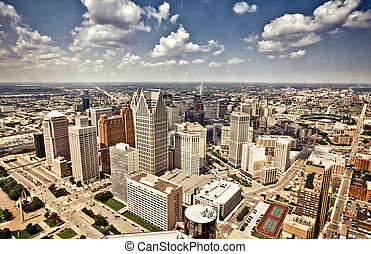 Downtown Detroit - Aerial view of abandoned downtown of ...