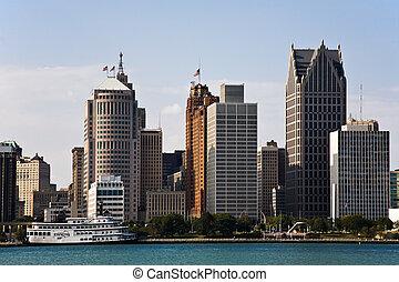 Downtown Detroit Michigan Skyline and Detroit River Detroit,...