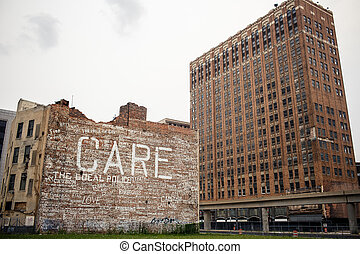 Downtown Detroit - View of abandoned downtown of Detroit, ...