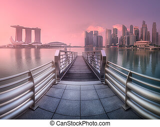 Downtown district and Marina bay in Singapore - View of...