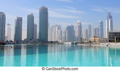 Downtown Dubai time lapse video. United Arab Emirates