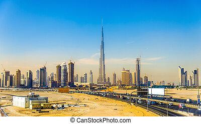 downtown, dubai, verenigde arabische emiraten, aanzicht