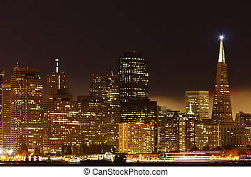 downtown, francisco, san, usa, /, hoog, boven, nacht,...