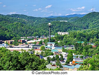 Downtown Gatlinburg, Tennessee - The skyline of downtown...