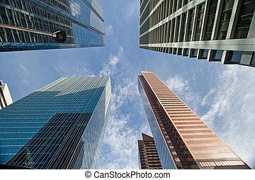 downtown, gebouw, kantoor