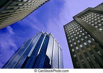 downtown, gebouwen, kantoor