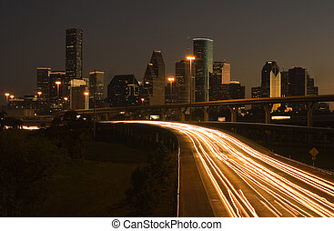 Downtown Houston Behind Highway - view of downtown houston...