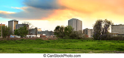 Downtown Jackson Mississippi - Panoramic view of downtown...