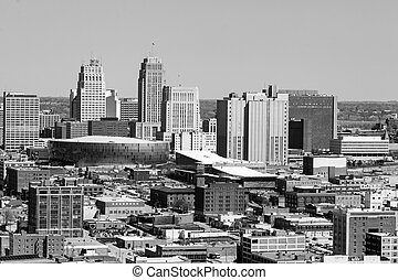 Downtown Kansas City Architecture and Buildings Rendered in Black and White