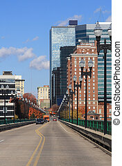 View of downtown Knoxville, Tennessee from the Gay Street bridge.