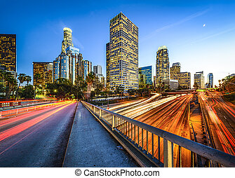 Downtown LA - Los Angeles, California, USA downtown skyline...