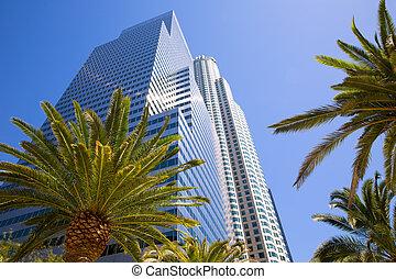 Downtown LA Los Angeles skyline California palm trees