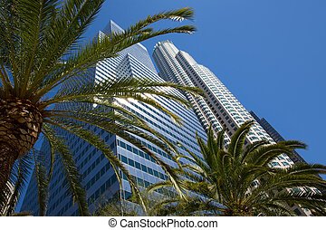Downtown LA Los Angeles skyline California palm trees