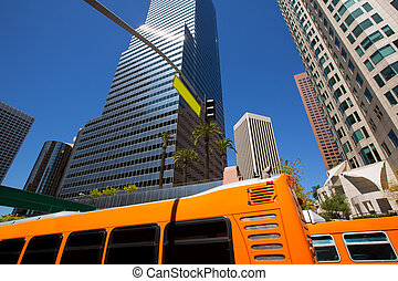Downtown LA Los Angeles skyline California with traffic