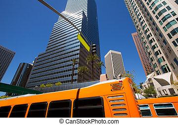 Downtown LA Los Angeles skyline California with traffic