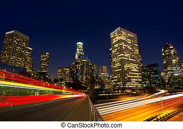 downtown, la, nacht, los angeles , ondergaande zon , skyline, californië