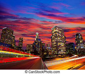 Downtown LA night Los Angeles sunset skyline California from 110 freeway
