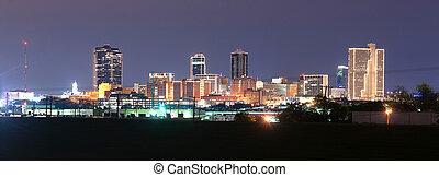 downtown, laat, skyline, drieëenheid, nacht, rivier, waarde,...