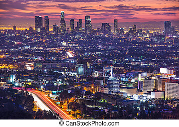 Los Angeles - Downtown Los Angeles, California, USA skyline...