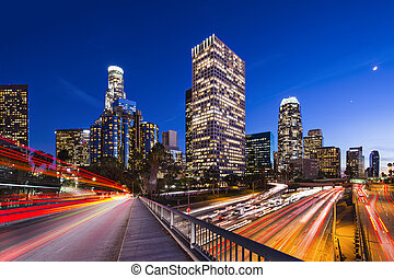 Downtown Los Angeles, California, USA skyline.