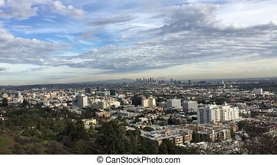 Downtown Los Angeles City Skyline Motion Time Lapse