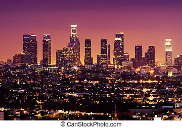 downtown los angeles, městská silueta, v noci, kalifornie,...