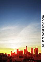 downtown los angeles, op, ondergaande zon