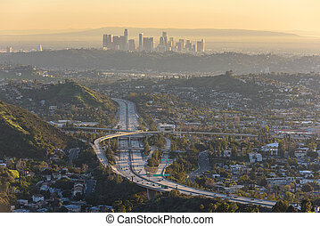 Downtown Los Angeles skyline at sunset