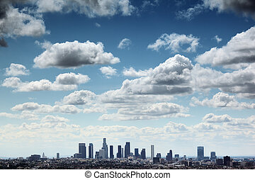 Los Angeles skyline - Downtown Los Angeles skyline under...
