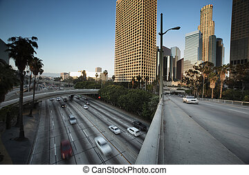 Downtown Los Angeles - Freeway traffic in downtown Los...