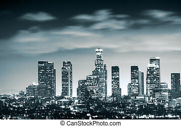 downtown, los, skyline, engelen