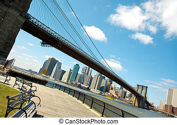 Downtown Manhattan view from Brooklyn, New York City; NY